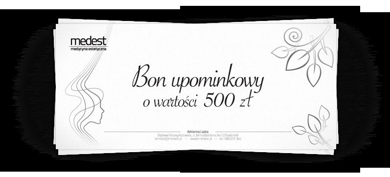 W gabinecie medest dostępne są bony upominkowe o wartości od 50 do 500 zł
